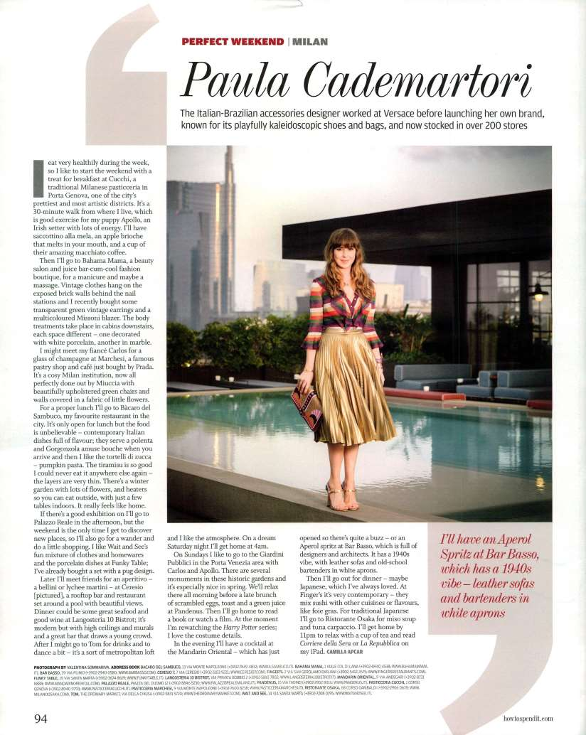 Paula Cademartori in Financial Times UK - How to Spend It Friday