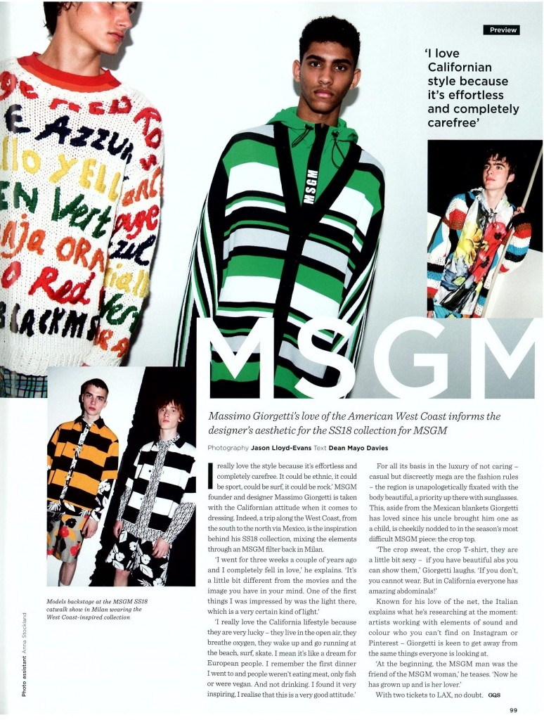 MSGM - GQ STYLE UK - AW17 ISSUE 2