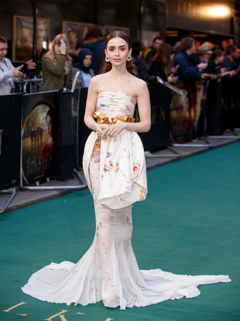 Lily Collins wears Giambattista Valli Haute Couture